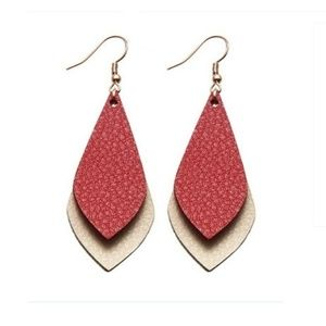 Faux Leather Red & Cream Dangle Earrings